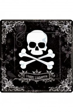 Halloween Party Jolly Roger Piatto di portata in plastica con teschio 32cm