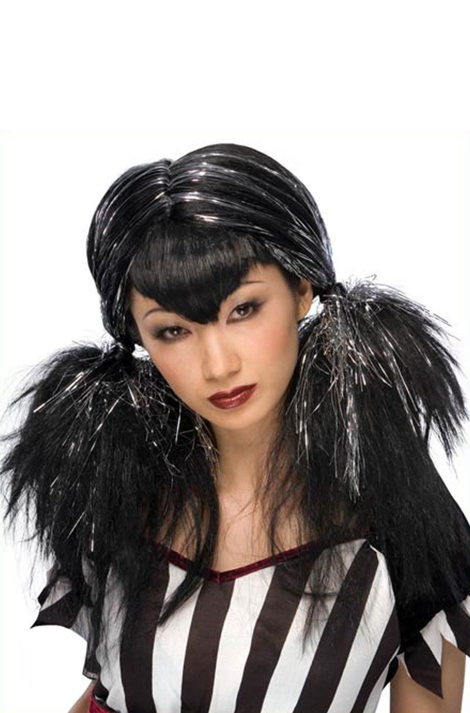 Parrucca donna nera e argento lunga Con Codini Dark