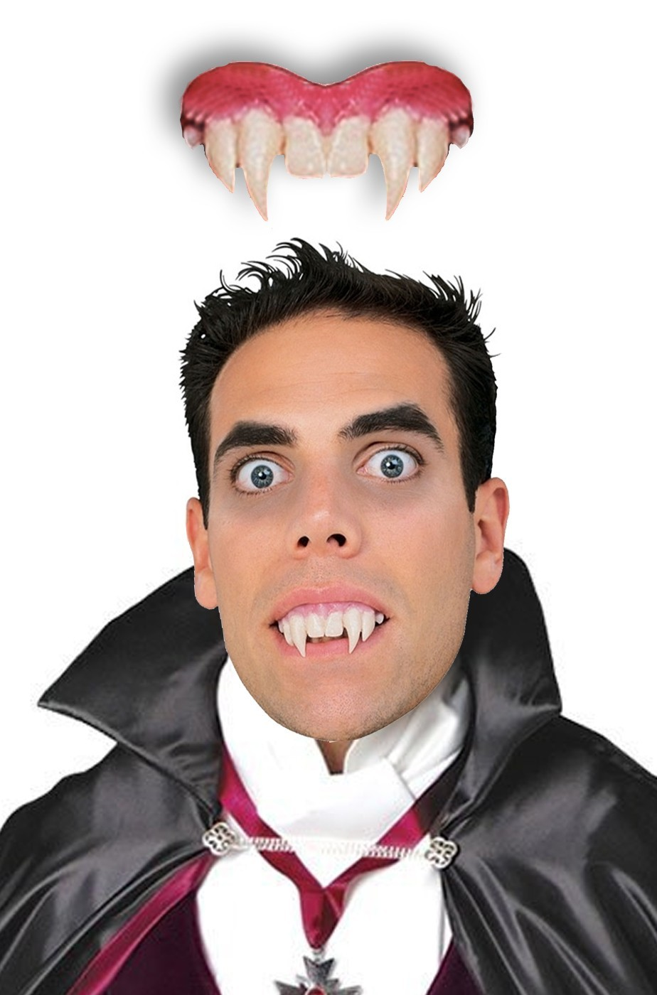 Dentiera vampiro rigida solo parte sopra + 14 anni con bicomponente