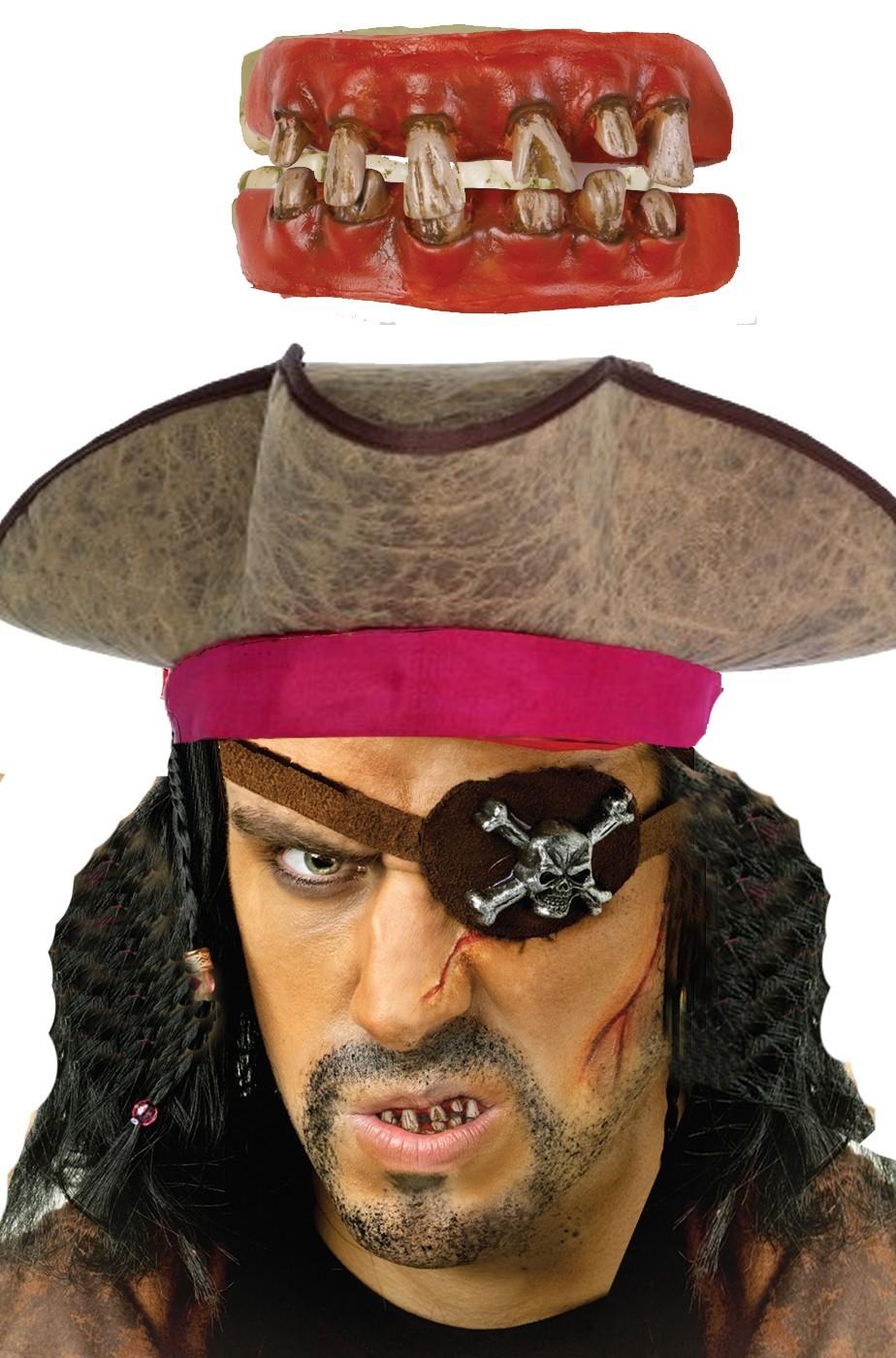Dentiera morbida per pirata con denti marci