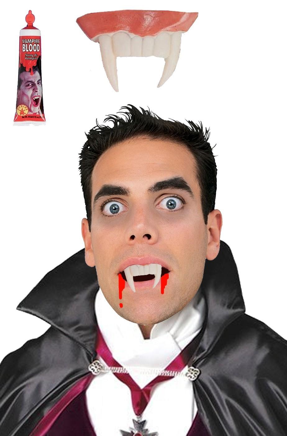 FX Sangue finto teatrale in tubetto con dentiera a canini vampiro morbida
