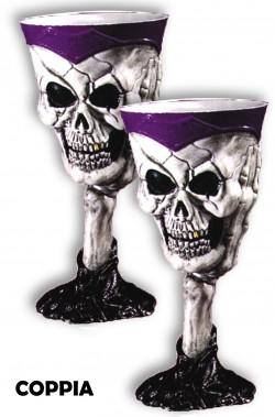 Bicchiere Calice Horror con teschio grigio Coppia