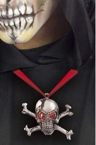 Medaglione con teschio con occhi rossi per pirati ed halloween