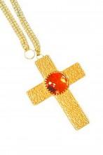 Croce decorata color oro con pietra rossa cm 10