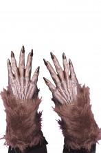 Guanti adulto lupo o creatura halloween marroni con pelo adulto