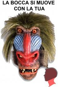Maschera Babbuino qualità professionale a tutta testa con pelo.Si muove con te.