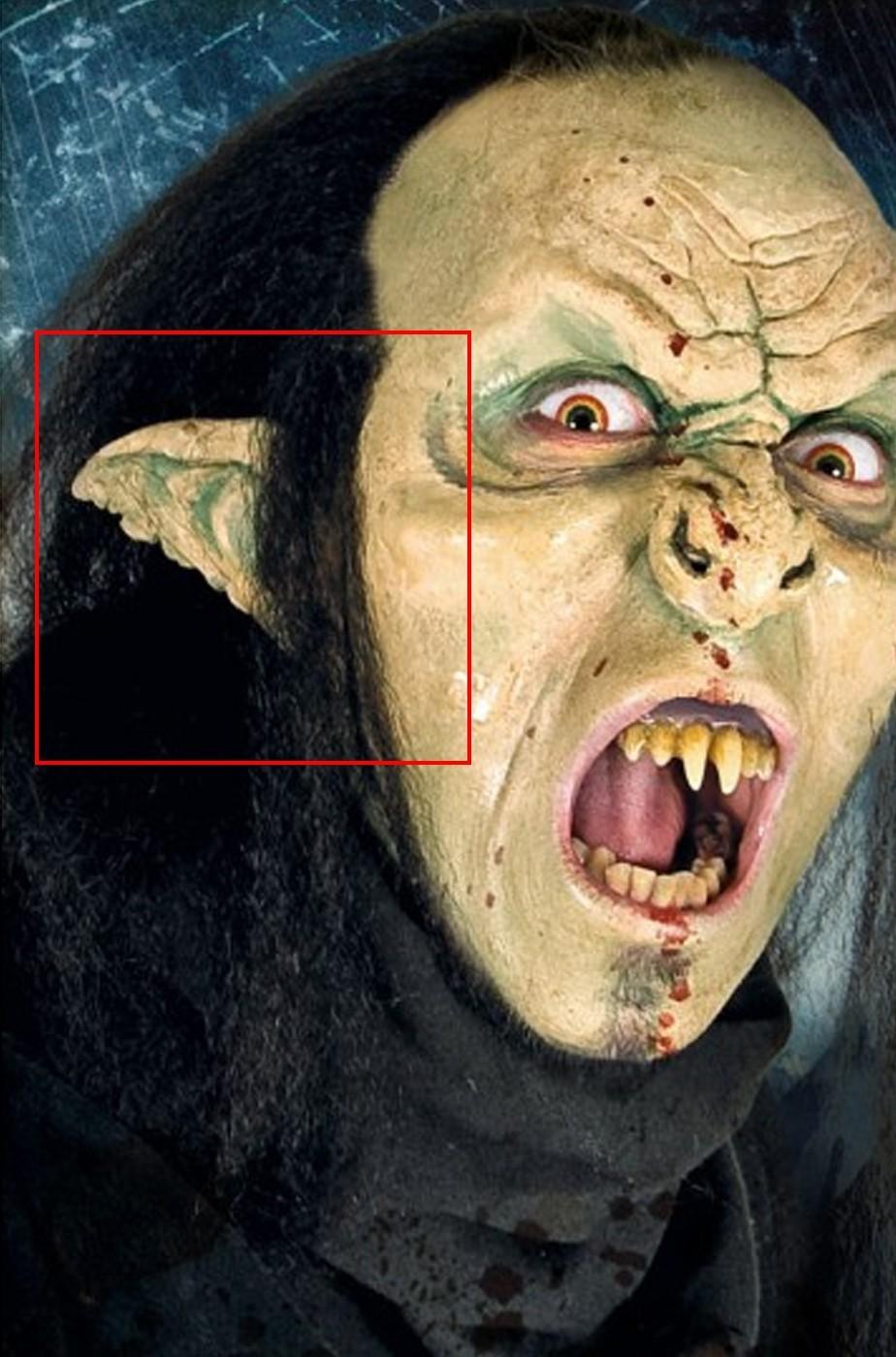 Protesi orecchie Finte orco troll mostro verdi in lattice prostetica professionale