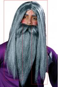 Parrucca grigia lunga per Mago Gandalf o vecchio anziano SOLO PARRUCCA