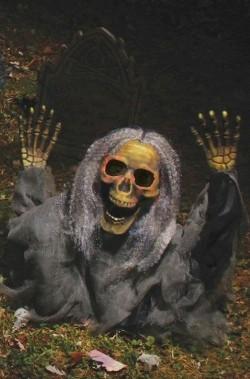 Addobbo o decorazione Halloween da giardino:scheletro che esce dal terreno 53cm!VERDE