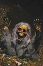 Decorazione Halloween da giardino:scheletro che esce dal terreno 53cm!VERDE