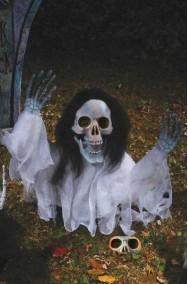 Addobbo Halloween da giardino scheletro che esce dal terreno 53cm bianco