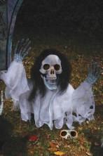 Decorazione Halloween da giardino:scheletro che esce dal terreno 53cm bianco