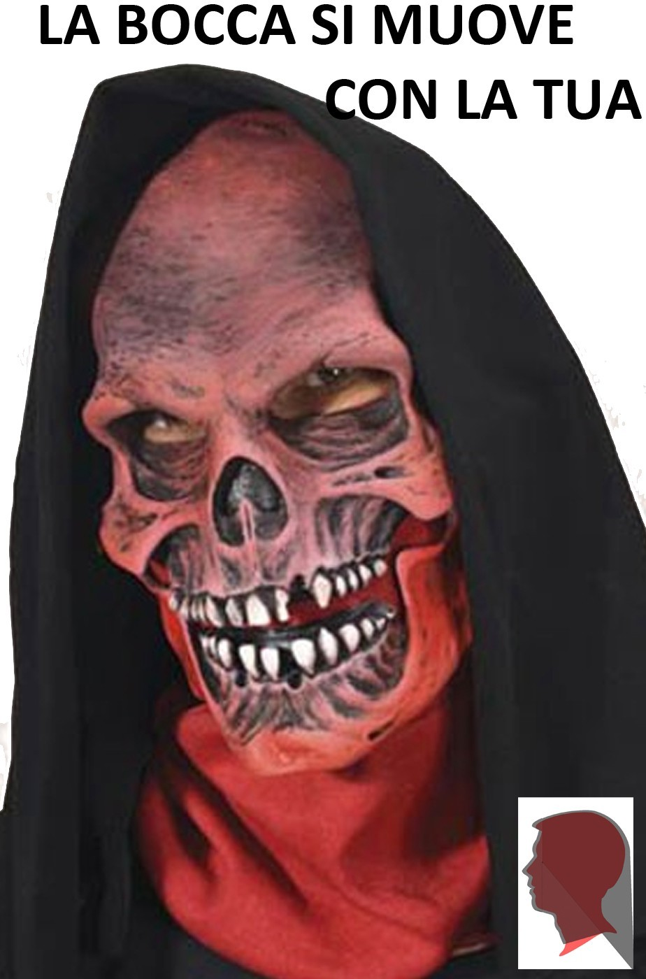 Maschera Teschio Rosso qualità professionale.