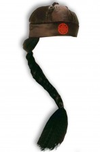 Cappello da cinese o giapponese adulto con lunga treccia nera