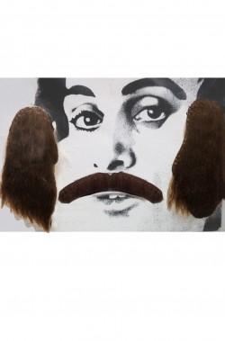 Trucco: Set Baffi e basettoni marroni anni 70