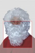 Barba Babbo Natale bianca riccia lunga circa 27 cm