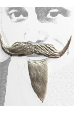 Barba e baffi finti moschettiere. Pizzetto e baffo a manubrio grigio Boheme