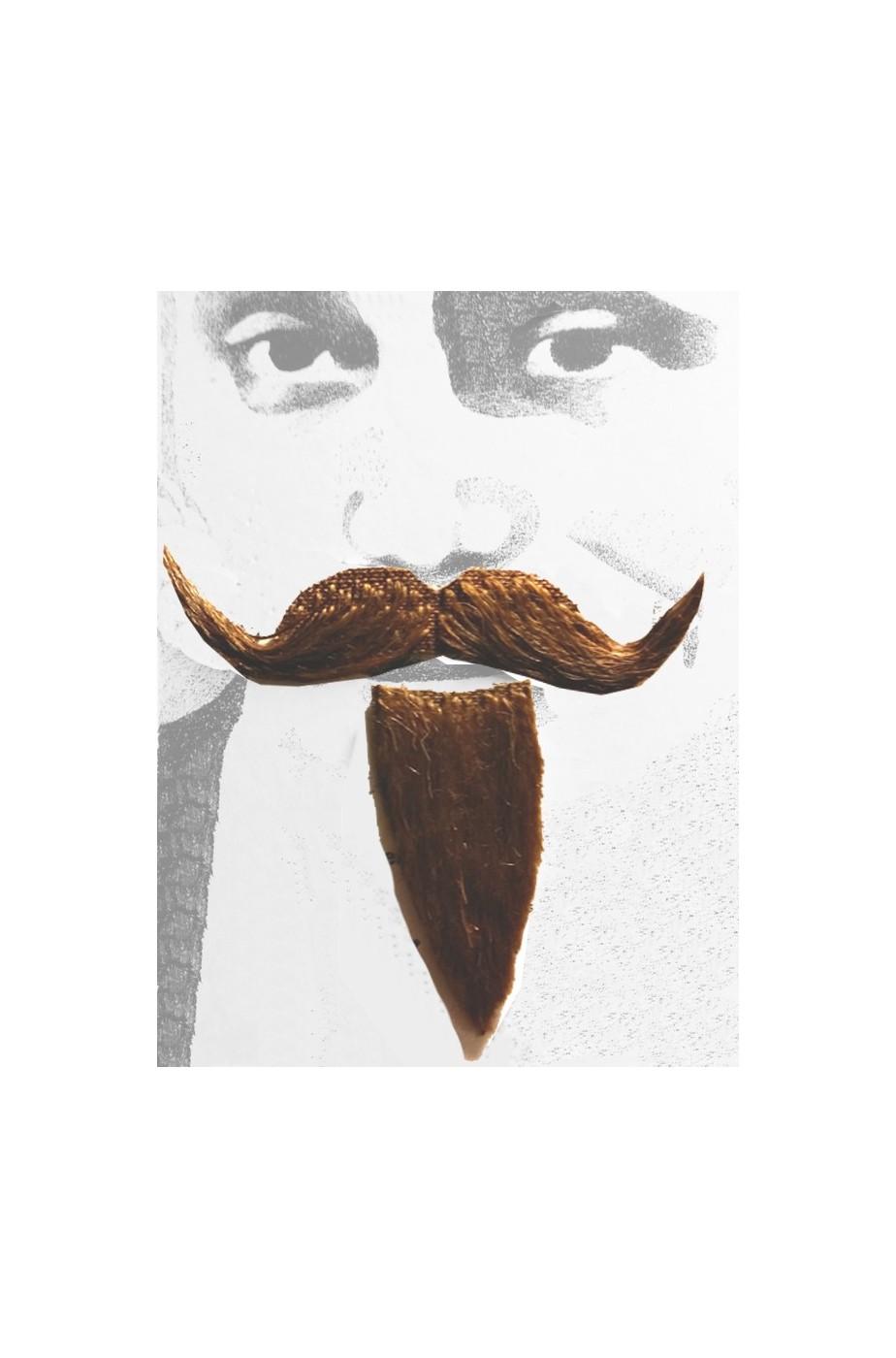 Barba e baffi finti moschettiere. Pizzetto e baffo a manubrio marrone Boheme