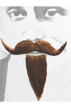 Trucco: Barba e baffi finti moschettiere. Pizzetto e baffo a manubrio marrone Boheme