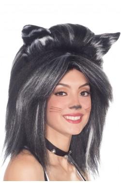 Parrucca unisex grigia lunga felino