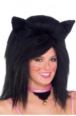 Parrucca unisex nera lunga felino