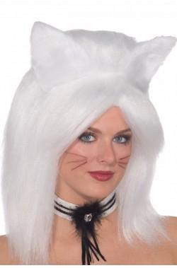 Parrucca unisex bianca lunga felino