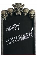 Decorazione da giardino Halloween lapide da tomba cm 57 con diavolo e forcone 3D