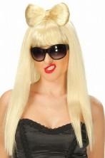 Parrucca donna bionda Lunga Con Fiocco per Lady Gaga