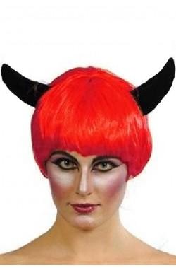 parrucca diavolo con corna nere
