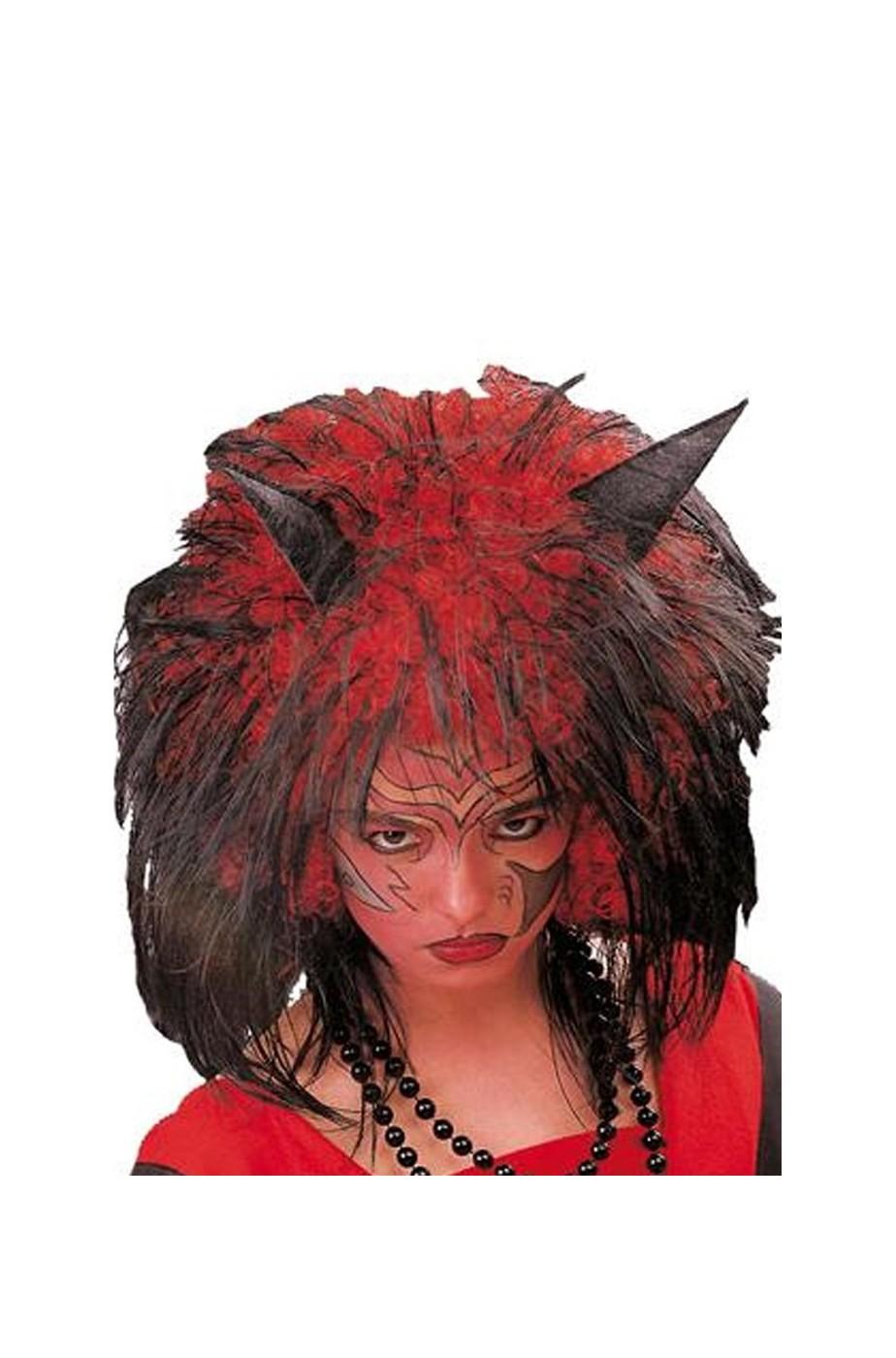 Parrucca diavolo con corna