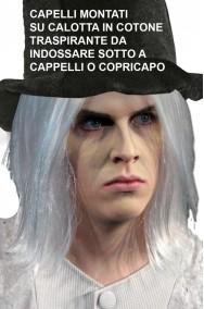 Parrucca bianca capelli montati su calotta traspirante per cappello