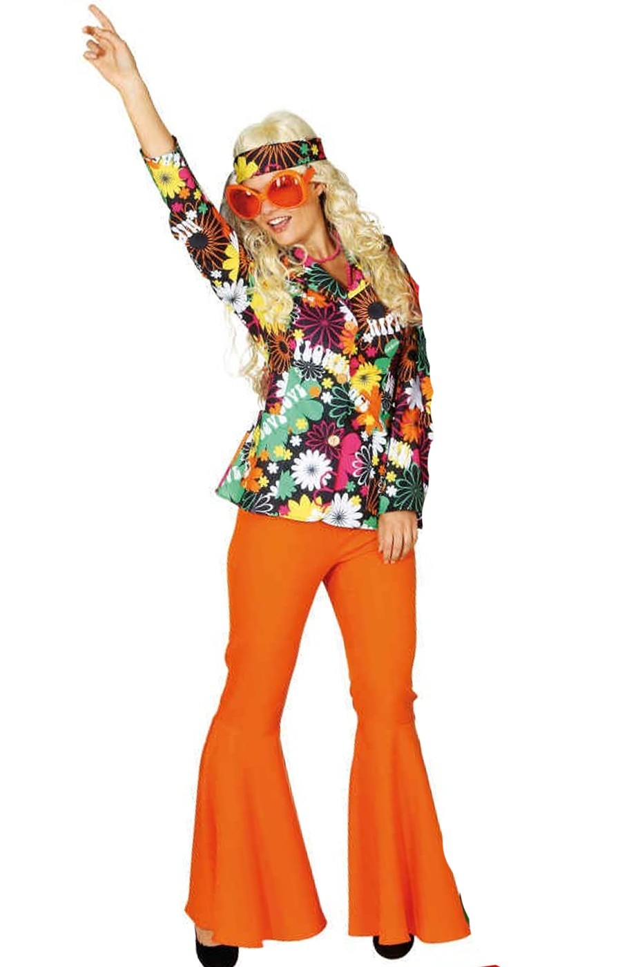 Costume Hippy Anni 70 Donna Flower Power in tessuto robusto