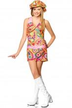 Costume donna hippie anni 70 vestitino