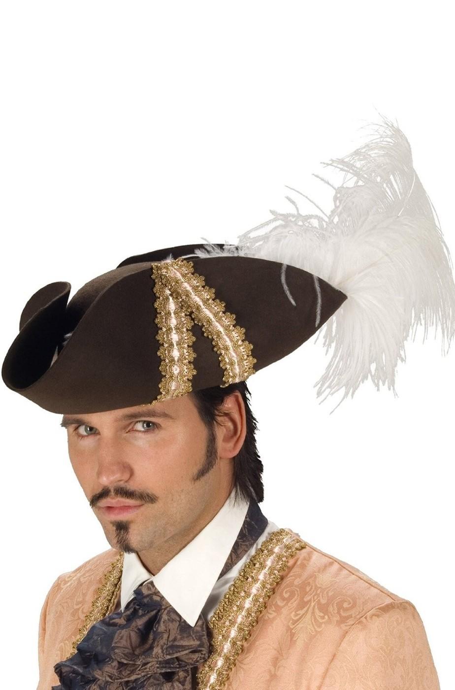 Cappello pirata 700 moschettiere extra lusso con piume f72e11d95513