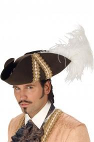 Cappello pirata 700 moschettiere extra lusso con piume