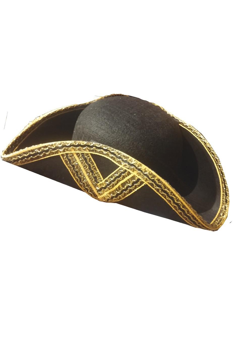 vivido e di grande stile dettagli per stile attraente Cappello da pirata cavaliere del 700 a tricorno giubba rossa cocchiere nero  e oro - CarnivalHalloween.com