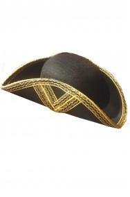 Cappello da pirata cavaliere del 700 a tricorno giubba rossa cocchiere nero e oro