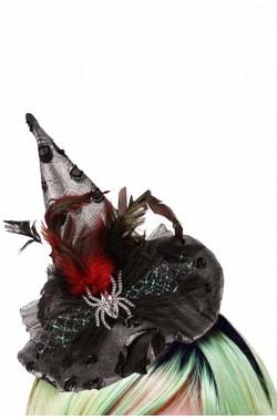 Cappello strega con cerchietto piume e ragno