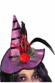 Cappello strega viola con cerchietto piume