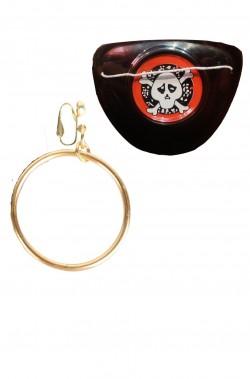 Benda Pirata per l'occhio in plastica ed orecchino