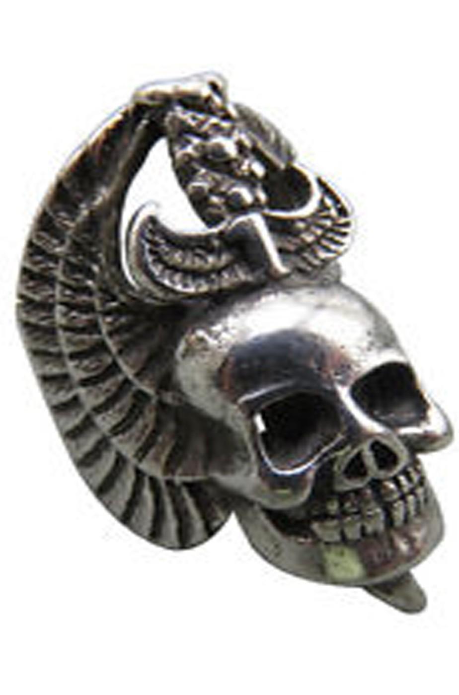 Anello con teschio con ali in metallo con misura regolabile