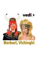 Costumi, elmi, scudi, armi parrucche da vichingo e guerriero barbaro