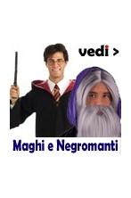 Vestiti da mago bacchette magiche e bastoni barbe parrucche sfere per Negromanti