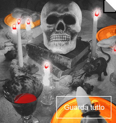 La foto mostra una tavola apparecchiata per Halloween