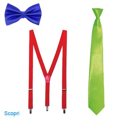 La foto mostra un papillon una cravatta ed un paio di bretelle