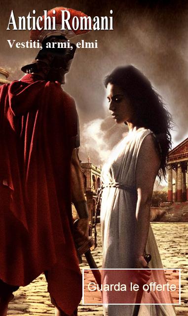 la foto mostra un vestito da soldato antico romano e da antica dama romana