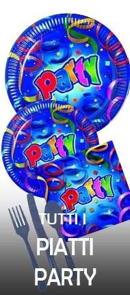 La foto mostra alcuni piatti party in vendita online